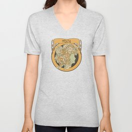 medusa silhouette (light) Unisex V-Neck