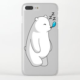 Hey Bear Sleeping Polar Bear Clear iPhone Case