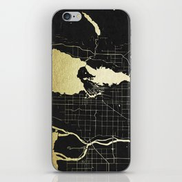 Vancouver Canada Black and Gold Map iPhone Skin