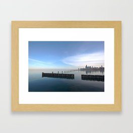 Lake Michigan with the Chicago skyline in sight Framed Art Print