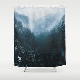 Foggy Forest Mountain Valley - Landscape Photography Shower Curtain