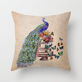Vintage Peacock Beauty Throw Pillow