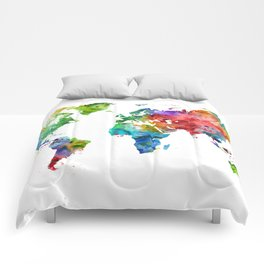 Watercolor World Map Comforters