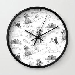 Pride and Prejudice Toile Wall Clock
