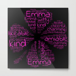 Emma name gift with lucky charm cloverleaf word Metal Print