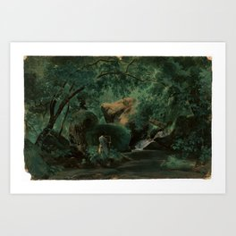 André Giroux Forest Interior with a Painter, Civita Castellana Art Print