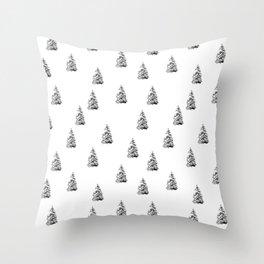 Newspaper Print Pine Trees Throw Pillow