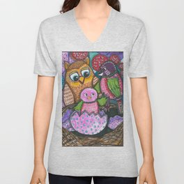 Birth of chick and owl. Little bird Unisex V-Neck