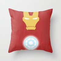 iron man Throw Pillows featuring Iron Man by Steal This Art