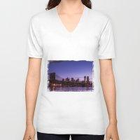 brooklyn bridge V-neck T-shirts featuring Brooklyn Bridge by hannes cmarits (hannes61)