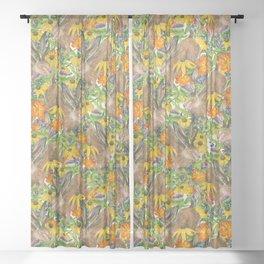 Jackalope Wildflower Florals Sheer Curtain