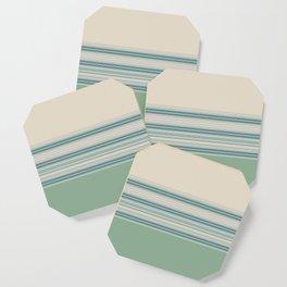 Mint Green Cream Stripes Coaster
