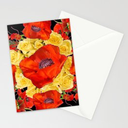 ORANGE POPPIES FLORAL & YELLOW ROSES BLACK ART Stationery Cards