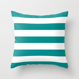 Dark cyan - solid color - white stripes pattern Throw Pillow