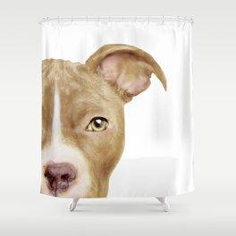 Pitbull light brown Dog illustration original painting print Shower Curtain