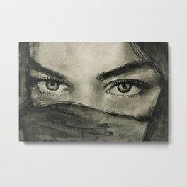 Watercolor portrait brunette girl with dark hair. Портрет углем акварелью брюнетки с темными глазами Metal Print