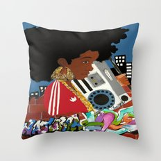 Old school Afro Throw Pillow