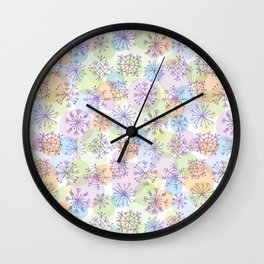 Merry Christmas pattern with purple snowflakes on light background Wall Clock