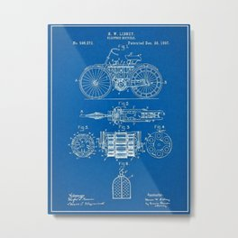 1897 Libbey Electric Bicycle Motorcycle Blueprint Patent Metal Print