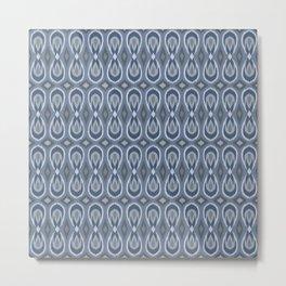 Ikat Teardrops in Slate Blue and Gray Metal Print