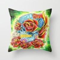 tatoo Throw Pillows featuring Tatoo ART 6 by The Greedy Fox