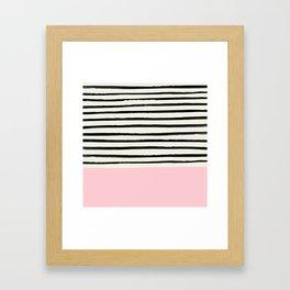 Millennial Pink x Stripes Framed Art Print