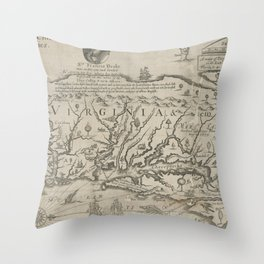 Vintage Map of Virginia (1651) Throw Pillow