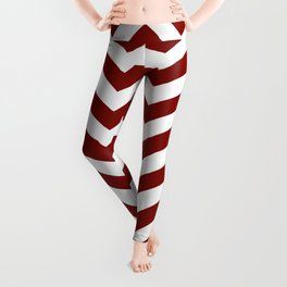 Maroon Chevron Zig Zag Pattern Leggings
