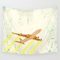 plane Wall Tapestries featuring plane - let me fly away by AmDuf