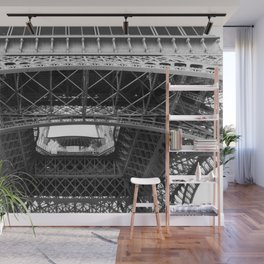 The Eiffeltower iron construction in black and white Wall Mural