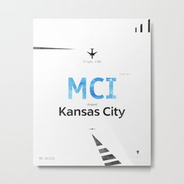 Kansas City Airport code poster Metal Print