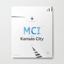 Kansas City Airport code poster Metal Print