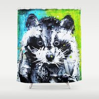 raccoon Shower Curtains featuring RACCOON by Maioriz Home