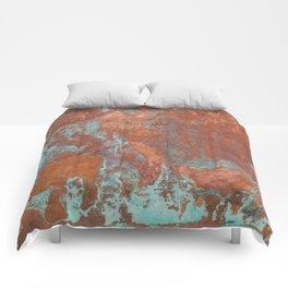 Tarnished Metal Copper Texture - Natural Marbling Industrial Art Comforters