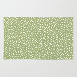 Leaf Green and White Polka Dot Pattern Rug