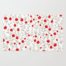 Grey and Red Floral Pattern Rug