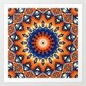 Geometric Orange And Blue Symmetry by perkinsdesigns