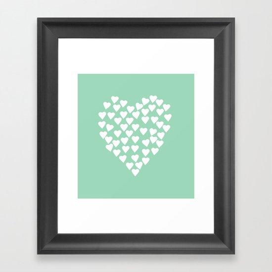 Hearts Heart White on Mint Framed Art Print