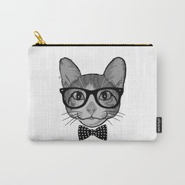 Cat Hipster With Polka Dots Bow Tie - Black White Carry-All Pouch