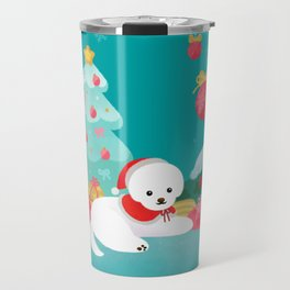 Christmas bichon frise 2 Travel Mug