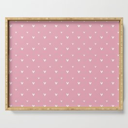 Small sketchy white hearts pattern on pink background Serving Tray