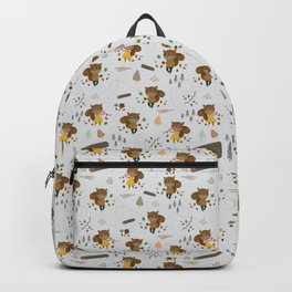 Mr and Mrs Squirrel Grey Background Backpack