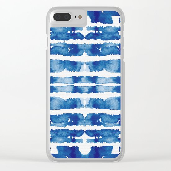 Shibori Vivid Indigo Blue and White Clear iPhone Case