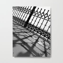 Black and white fence and shadow Metal Print