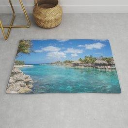 Scenic Tropical lagoon in Curacao Rug