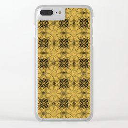 Spicy Mustard Floral Geometric Clear iPhone Case