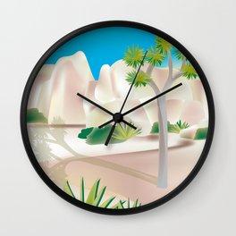 Joshua Tree National Park, California - Skyline Illustration by. Loose Petals Wall Clock