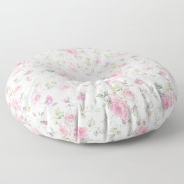 Elegant blush pink white vintage rose floral Floor Pillow