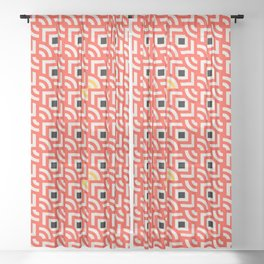 Round Pegs Square Pegs Red-Orange Sheer Curtain