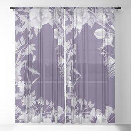 Stardust Violet Indigo Floral Motif Sheer Curtain
